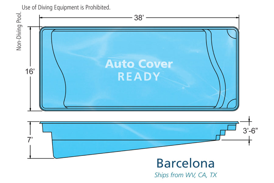 barcelona rectangular inground pool design
