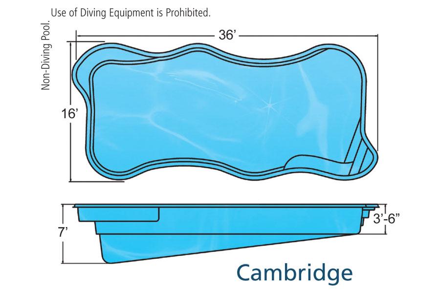 Cambridge large fiberglass inground viking swimming pool for Pool design names