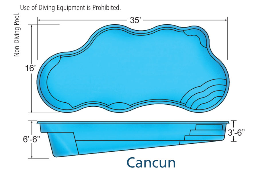 Cancun large fiberglass inground viking swimming pool for Pool design names