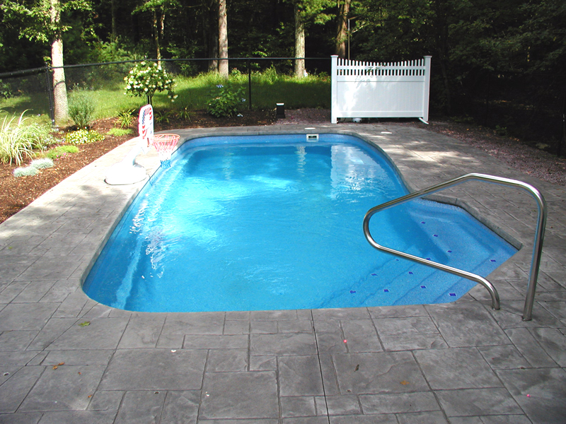 Carmel medium fiberglass inground viking swimming pool for Custom inground swimming pools