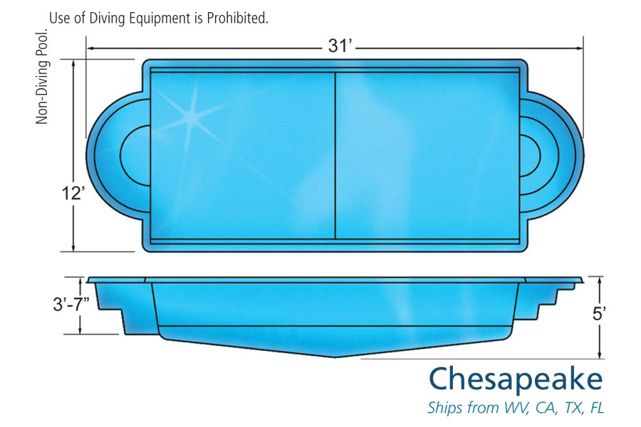 Chesapeake medium sized fiberglass viking swimming pool for Pool design names