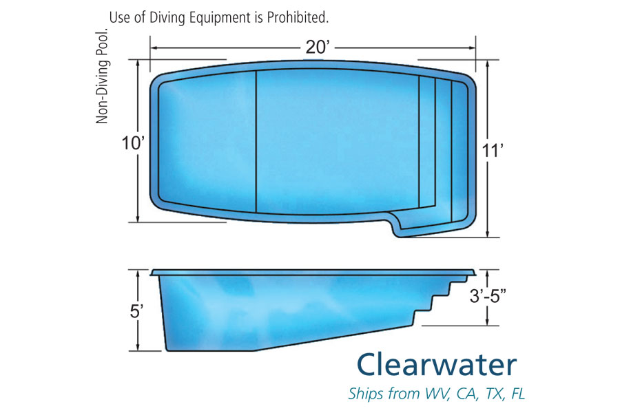 Clearwater small fiberglass inground viking swimming pool for Swimming pool design details
