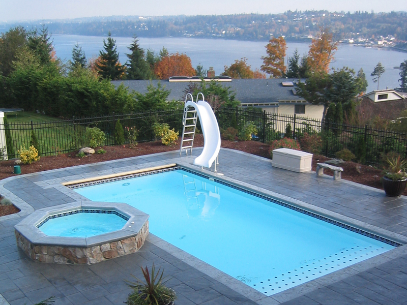 Lake shore large fiberglass inground viking swimming pool for Images of inground swimming pools