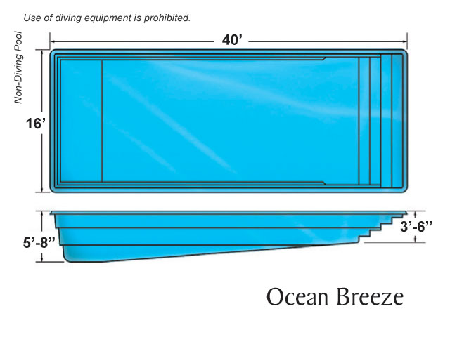 Ocean breeze large fiberglass viking swimming pool for Pool design names