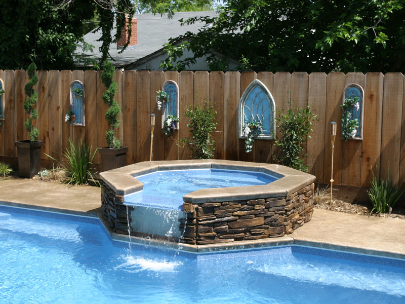 Placid spillover spa hot tub viking fiberglass pools for Spa and pool