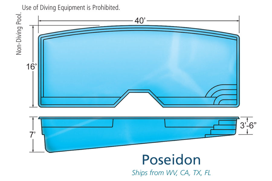 Poseidon large fiberglass inground viking swimming pool for Pool design names