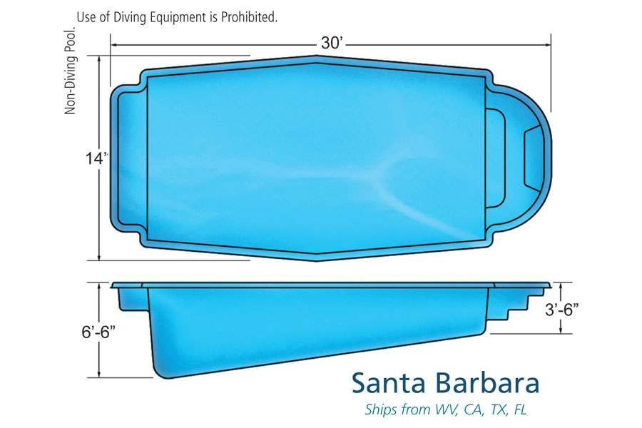 Santa barbara medium fiberglass viking swimming pool for Pool design names