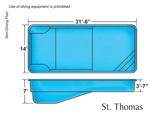 St Thomas Medium Sized Fiberglass Viking Swimming Pool
