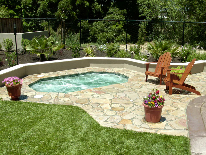Superior viking backyard spa pools 2i calm water pools for Spa patio designs
