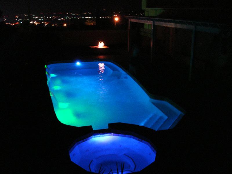Baja small fiberglass inground viking swimming pool for Pool lighting design