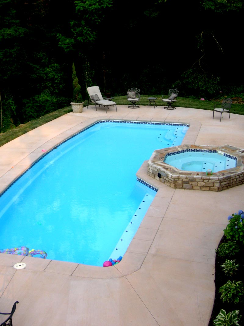 Custom tile work viking fiberglass inground swimming pools for Fiberglass inground swimming pools