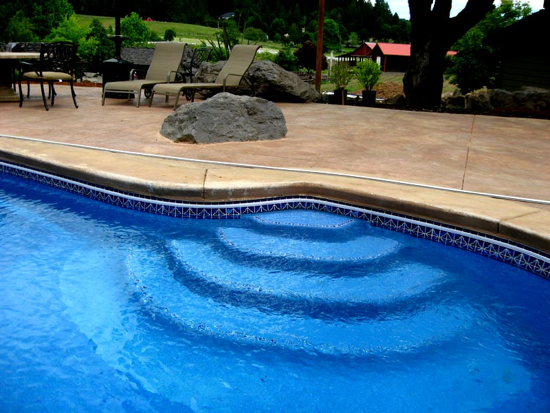 Custom tile work viking fiberglass inground swimming pools for Custom inground pools