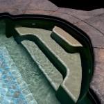 Custom Tile Work Viking Fiberglass Inground Swimming Pools 93