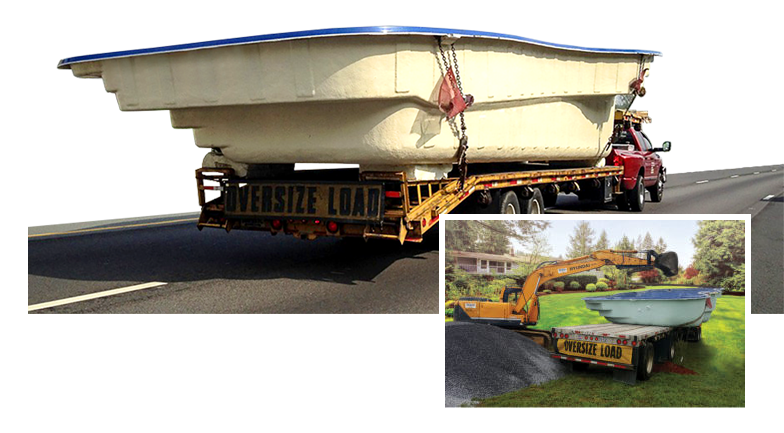 Swimming Pool Delivery : We sell fiberglass pool shells directly to you calm
