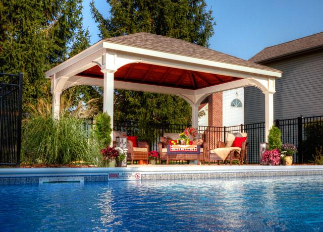 Gazebos pergolas pavilions patio sets in dc md va for Pool pavilion plans