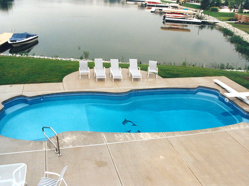 Gulf coast large fiberglass inground viking swimming pool for Pool design hamilton