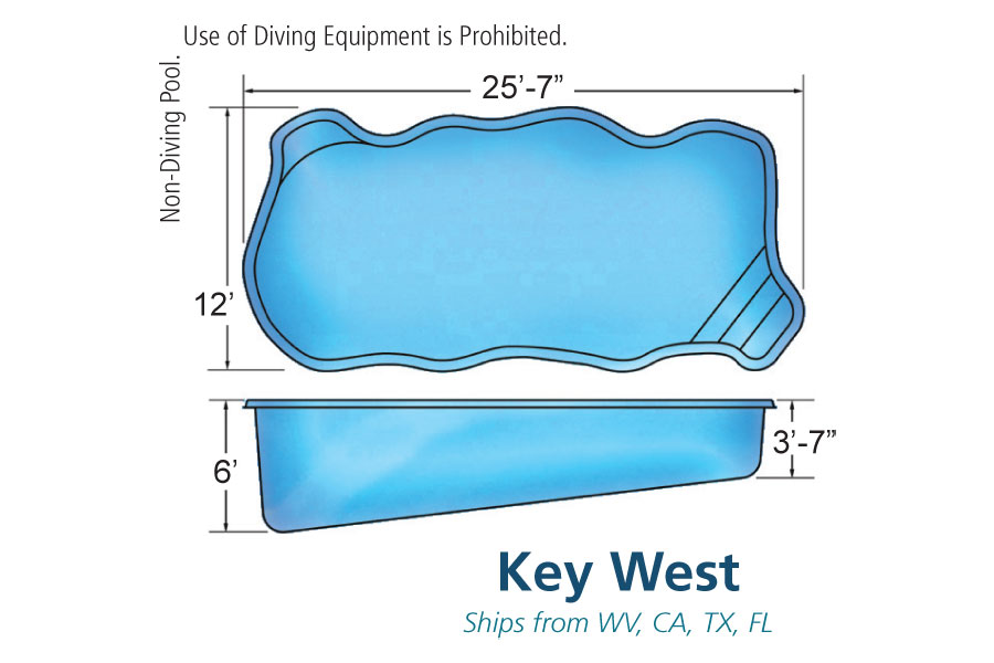 Key west medium fiberglass inground viking swimming pool for Pool design names