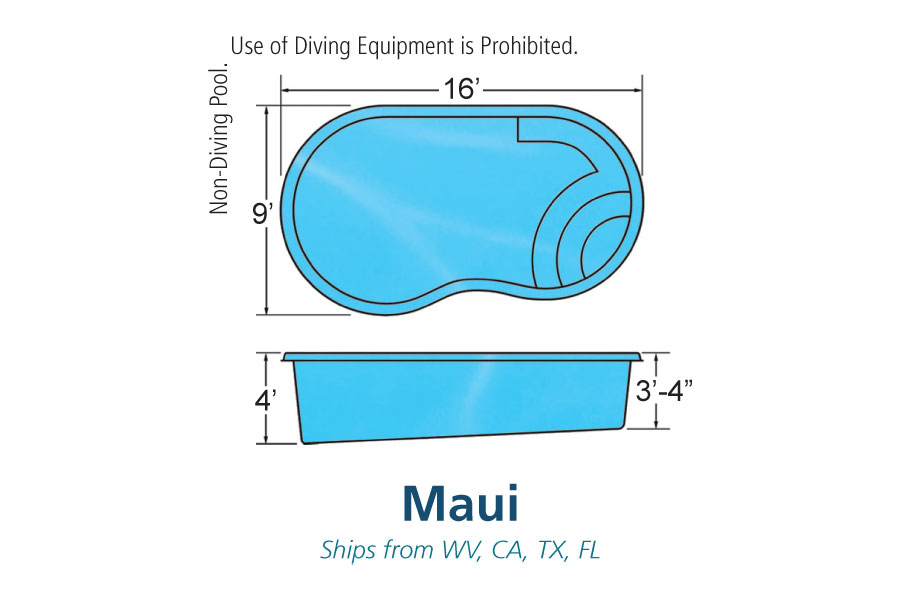 Maui small fiberglass inground viking swimming pool for Pool design names