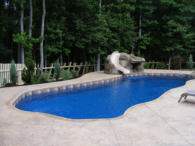 Oceania large fiberglass inground viking swimming pool for Inground pool patio ideas
