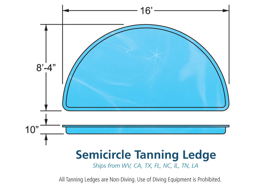 Semi circle inground fiberglass viking pool tanning ledge for Pool design with tanning ledge
