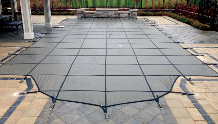 Solid mesh safety covers for fiberglass swimming pools