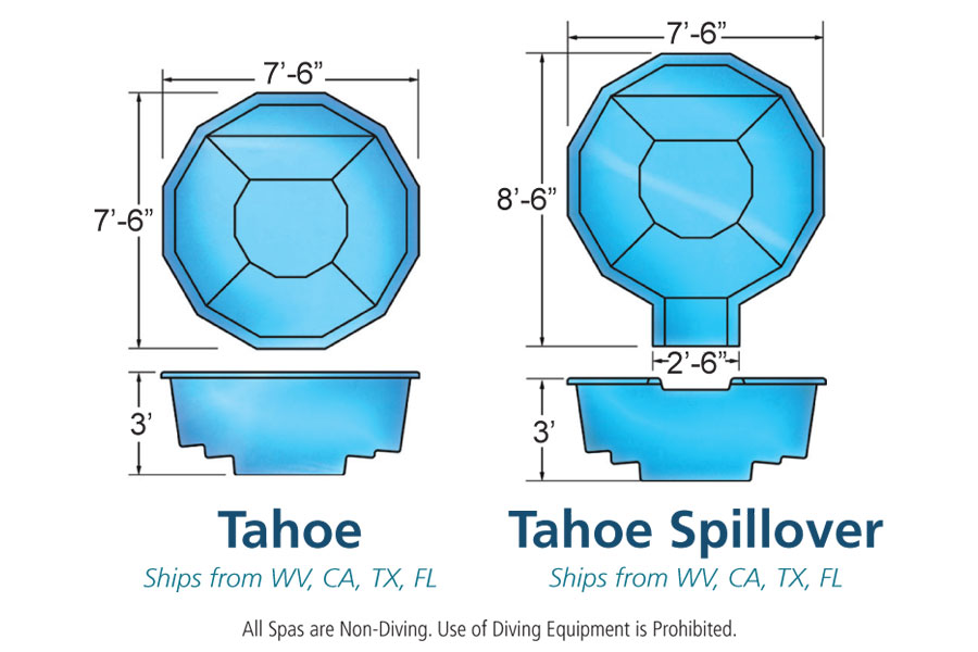Tahoe spillover spa hot tub viking fiberglass pools for Pool design names