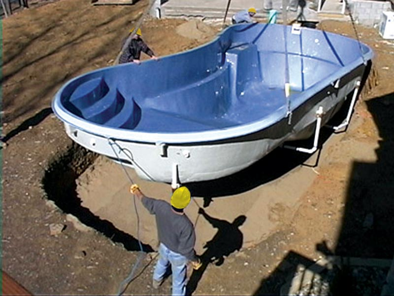 fiberglass inground swimming pool installation