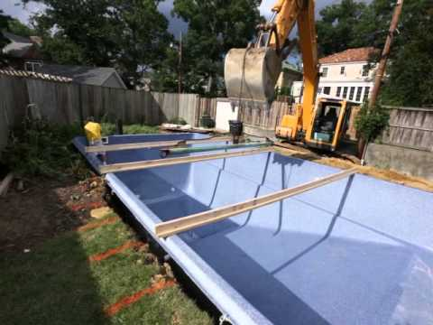 Pool companies northern virginia laying down the braces for Fiberglass pool installation